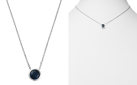 "Bloomingdale's Sapphire Bezel Pendant Necklace in 14K White Gold, 16"" - 100% Exclusive _2"