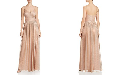Laundry by Shelli Segal Crossover-Front Metallic Pleated Gown - Bloomingdale's_2