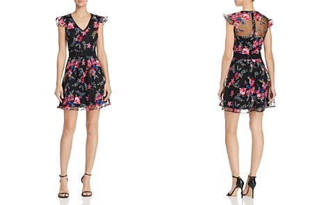 AQUA Floral Embroidered Mesh Fit-and-Flare Dress - 100% Exclusive - Bloomingdale's_2