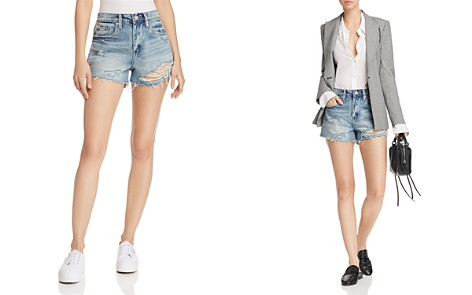BLANKNYC Striped Distressed Denim Shorts in Now Or Never - Bloomingdale's_2