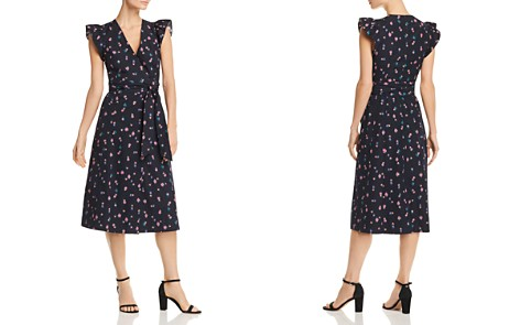 Rebecca Taylor Farren Flower-Print Wrap Midi Dress - Bloomingdale's_2