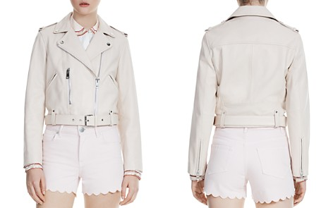 Maje Betsy Cropped Leather Moto Jacket - Bloomingdale's_2