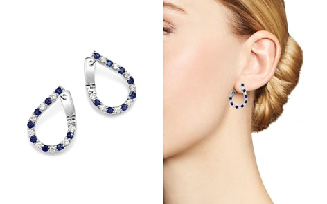 Bloomingdale's Blue Sapphire & Diamond Front-Back Hoop Earrings in 14K White Gold - 100% Exclusive _2