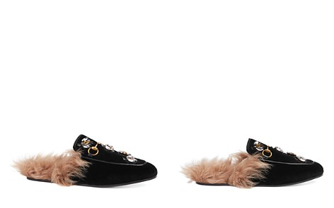 Gucci Women's Princetown Embroidered Velvet & Lamb Fur Mules - Bloomingdale's_2