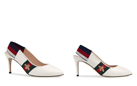 Gucci Women's Leather Web Mid Heel Slingback Pumps - Bloomingdale's_2