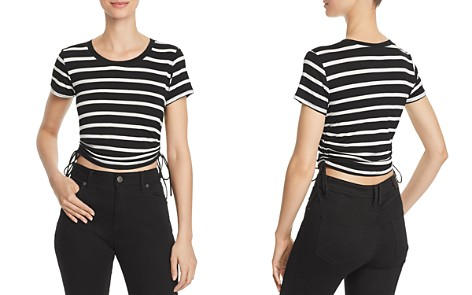 AQUA Ruched Drawstring Striped Tee - 100% Exclusive - Bloomingdale's_2