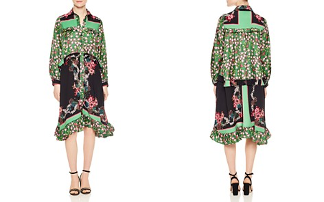 Sandro Duel Floral Print & Color Blocked Dress - Bloomingdale's_2