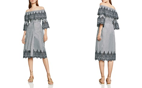 BCBGMAXAZRIA Eyelet-Trim Off-The-Shoulder Dress - Bloomingdale's_2
