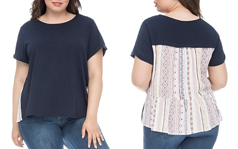 B Collection by Bobeau Curvy Maya Mixed-Media Tee - Bloomingdale's_2