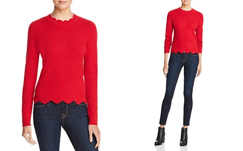 AQUA Cashmere Scallop-Trim Sweater - 100% Exclusive - Bloomingdale's_2