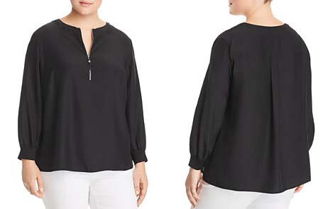 Lafayette 148 New York Plus Fantasia Silk Half-Zip Blouse - Bloomingdale's_2