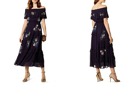 KAREN MILLEN Embroidered Off-the-Shoulder Midi Dress - Bloomingdale's_2