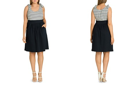 City Chic Plus Ahoy Knot-Trimmed Fit-and-Flare Dress - Bloomingdale's_2