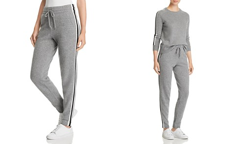 C by Bloomingdale's Varsity Striped Cashmere Jogger Pants _2