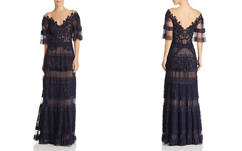 Tadashi Shoji Pleated Illusion Gown - Bloomingdale's_2