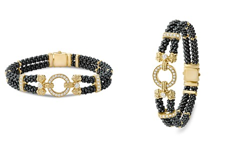 LAGOS Circle Game Black Caviar Ceramic Double Strand Rope Bracelet with Diamonds and 18K Gold - Bloomingdale's_2