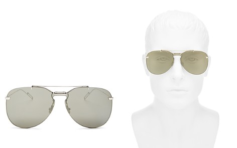Dior Homme Men's Mirrored Brow Bar Rimless Aviator Sunglasses, 66mm - Bloomingdale's_2