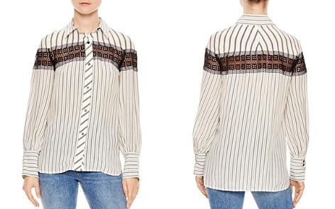 Sandro Viki Striped Lace-Inset Shirt - Bloomingdale's_2