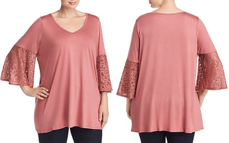 Status by Chenault Plus Lace-Sleeve Top - Bloomingdale's_2