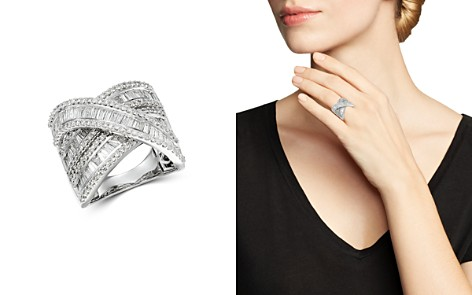 Bloomingdale's Diamond Baguette & Round Statement Crossover Ring in 14K White Gold, 3.0 ct. t.w._2