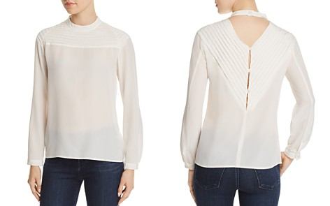 J Brand Chrystal Pleated Silk Top - Bloomingdale's_2