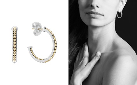 LAGOS 18K Yellow Gold & Sterling Silver KSL Caviar Bead Hoop Earrings - Bloomingdale's_2