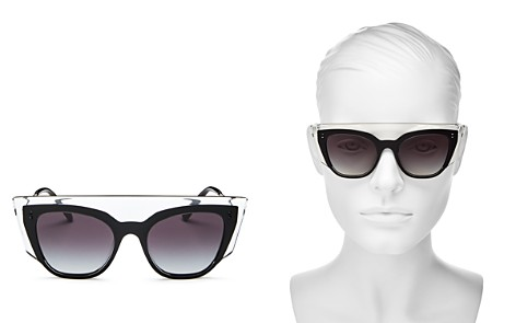 Valentino Women's Flat Top Cat Eye Sunglasses, 49mm - Bloomingdale's_2