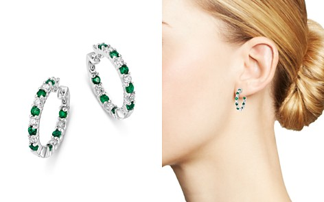 Bloomingdale's Emerald & Diamond Inside Out Hoop Earrings in 14K White Gold - 100% Exclusive_2