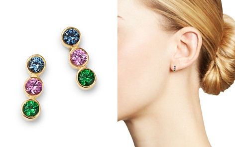 Zoë Chicco 14K Yellow Gold Rainbow Sapphire Bezel-Set Bar Earrings - Bloomingdale's_2