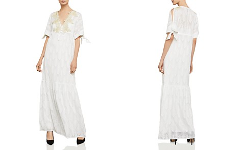 BCBGMAXAZRIA Alysa Embroidered Tie-Sleeve Maxi Dress - Bloomingdale's_2