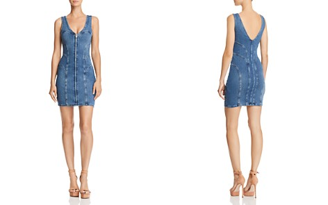 GUESS Zip-Front Denim Body-Con Dress - Bloomingdale's_2