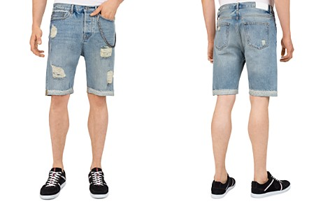 The Kooples Destroyed Denim Shorts in Blue - Bloomingdale's_2