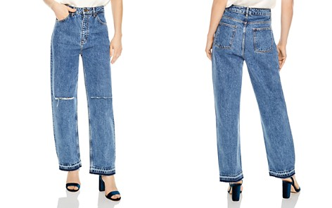 Sandro Fluffy Distressed Wide-Leg Jeans - Bloomingdale's_2