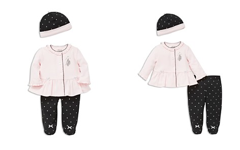 Little Me Girls' Ballet Slippers Cardigan, Footie Pants & Hat Set - Baby - Bloomingdale's_2
