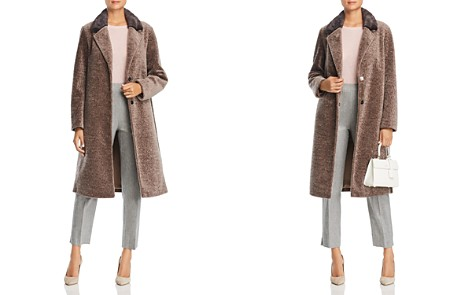 Maximilian Furs Mink Fur Collar Lamb Shearling Coat - 100% Exclusive - Bloomingdale's_2