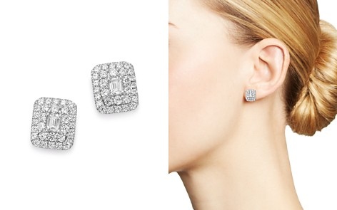 Bloomingdale's Diamond Halo Rectangle Earrings in 14K White Gold, 1.0 ct. t.w. - 100% Exclusive_2