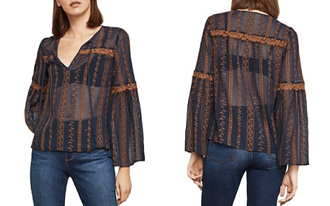 BCBGMAXAZRIA Embroidered Chiffon Peasant Top - Bloomingdale's_2