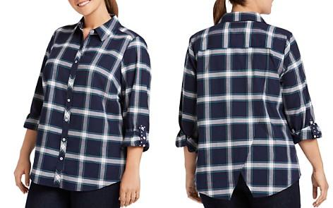 Foxcroft Plus Zella Windowpane Button-Down Shirt - Bloomingdale's_2