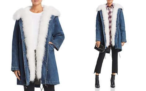 Maximilian Furs Fur Trim Denim Down Parka - 100% Exclusive - Bloomingdale's_2