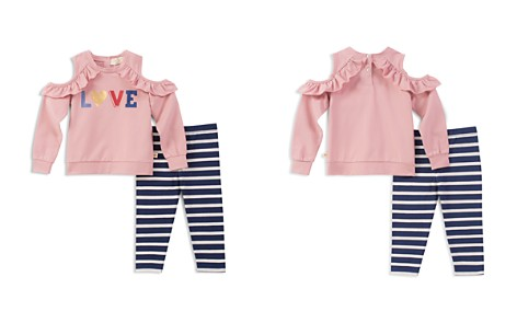 kate spade new york Girls' Ruffled Cold-Shoulder Love Sweatshirt & Striped Leggings Set - Baby - Bloomingdale's_2
