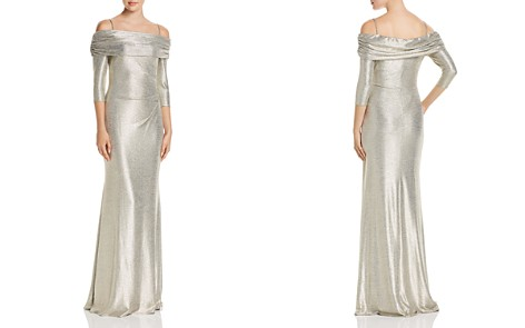 Avery G Off-the-Shoulder Metallic Knit Column Gown - Bloomingdale's_2