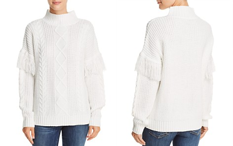 AQUA Fringed Cable-Knit Sweater - 100% Exclusive - Bloomingdale's_2