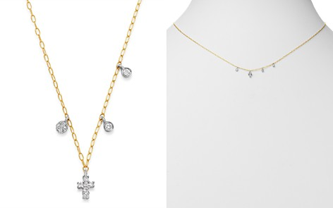 """Meira T 14K Yellow Gold & 14K White Gold Diamond Cross Adjustable Pendant Necklace, 18"""" - Bloomingdale's_2"""