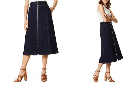 KAREN MILLEN Zip-Front Denim Midi Skirt - Bloomingdale's_2