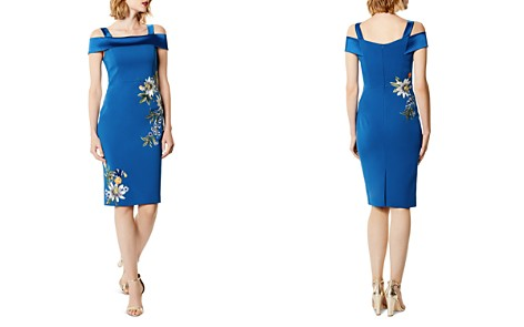 KAREN MILLEN Embroidered Cold-Shoulder Sheath Dress - Bloomingdale's_2