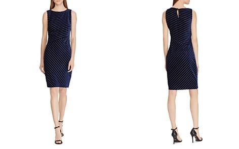 Lauren Ralph Lauren Petites Shadow-Stripe Velvet Dress - Bloomingdale's_2