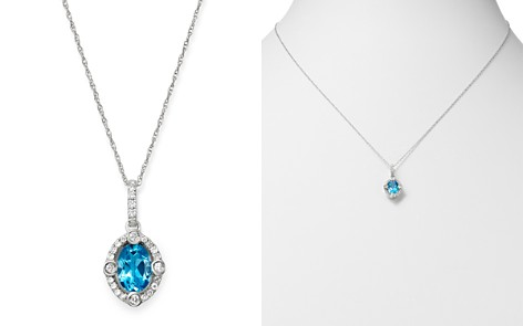"Bloomingdale's Blue Topaz & Diamond Pendant Necklace in 14K White Gold, 18"" - 100% Exclusive_2"