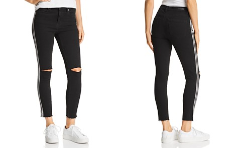 BLANKNYC Racing-Stripe High-Rise Cropped Skinny Jeans in Black with White Stripe - Bloomingdale's_2