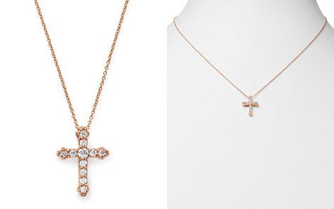 Bloomingdale's Diamond Cross Pendant Necklace in 14K Rose Gold, 0.25 ct. t.w. - 100% Exclusive_2