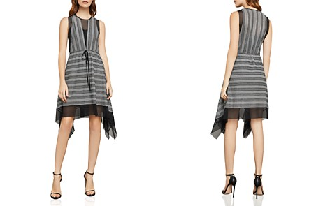 BCBGMAXAZRIA Striped Mesh A-Line Dress - Bloomingdale's_2